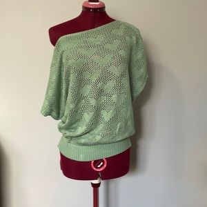 Mint green lacy heart sweater